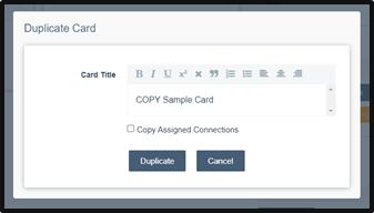 Duplicate Card Modal