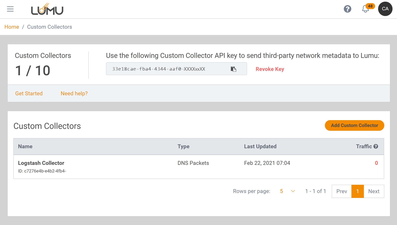 Custom Collectors API management - Lumu Portal