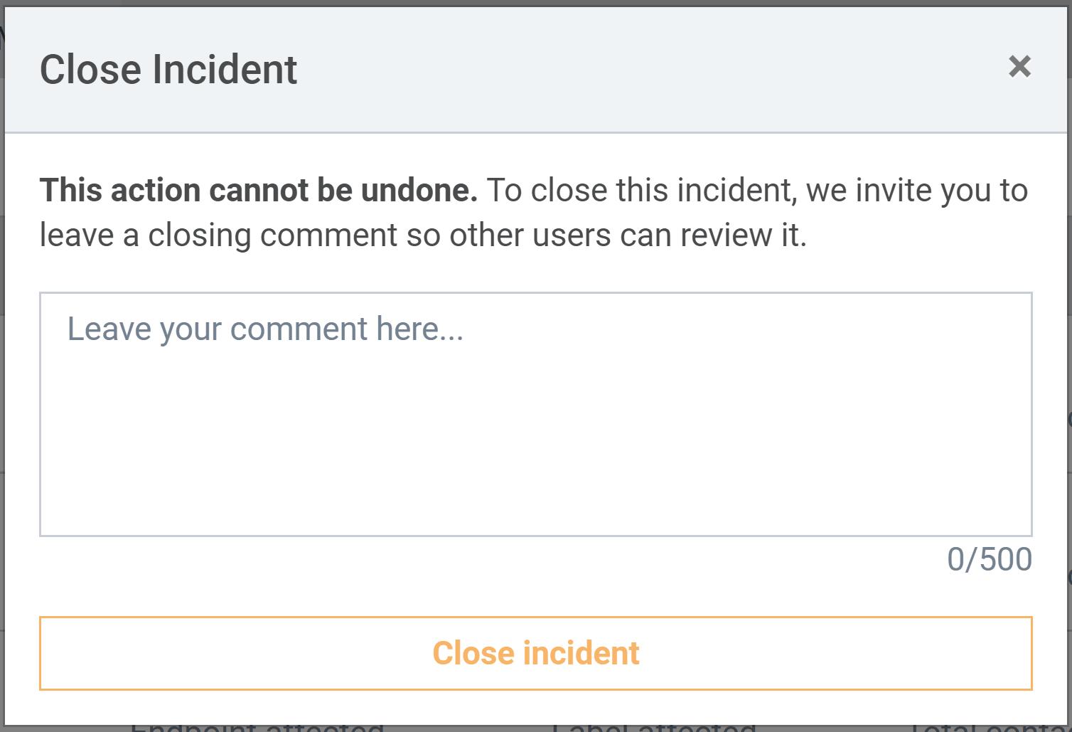 Closing an incident