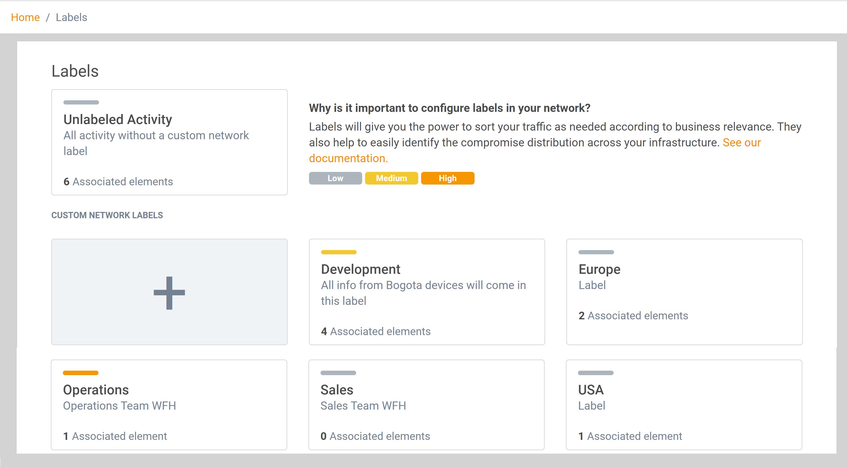 Labels management - Lumu Portal