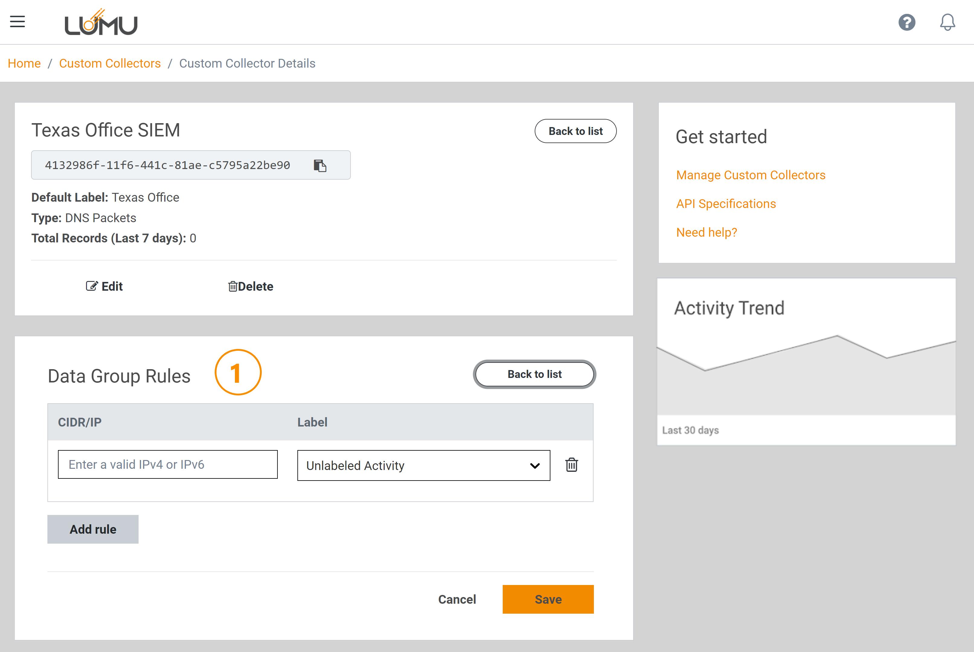 Custom Collector rules management - Lumu Portal