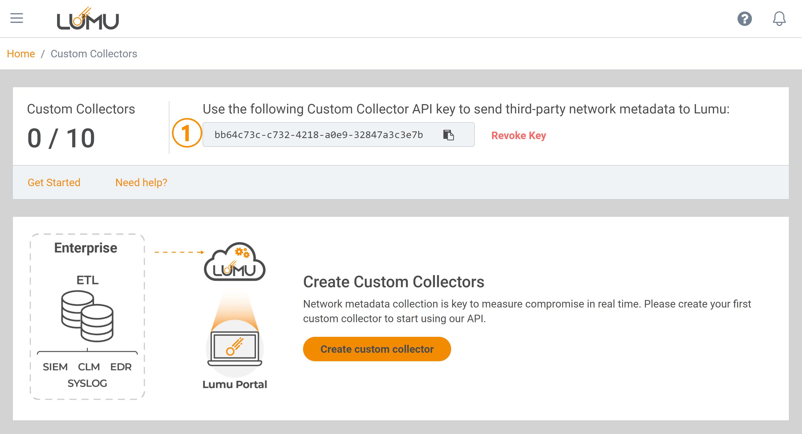 Custom Collector API management area - Lumu Portal