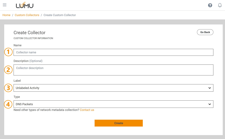 Custom Collector creation screen - Lumu Portal