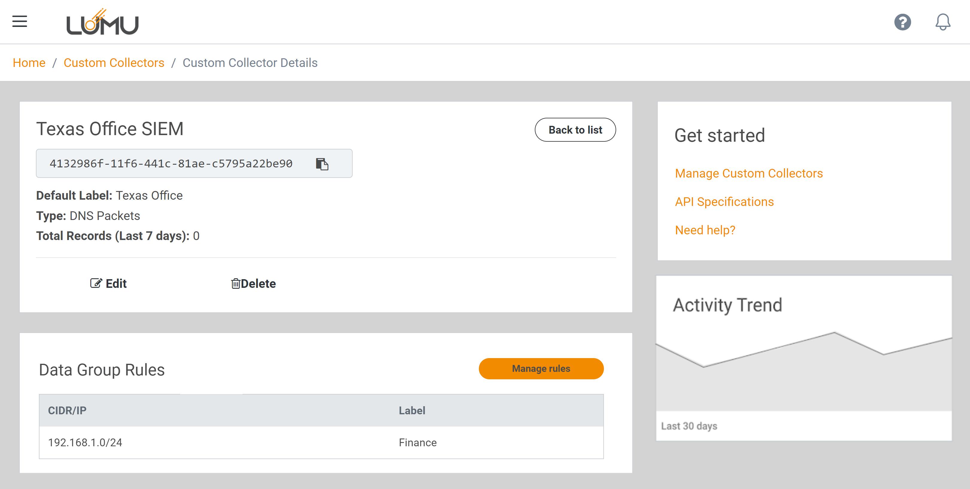 Custom Collector details screen - Lumu Portal