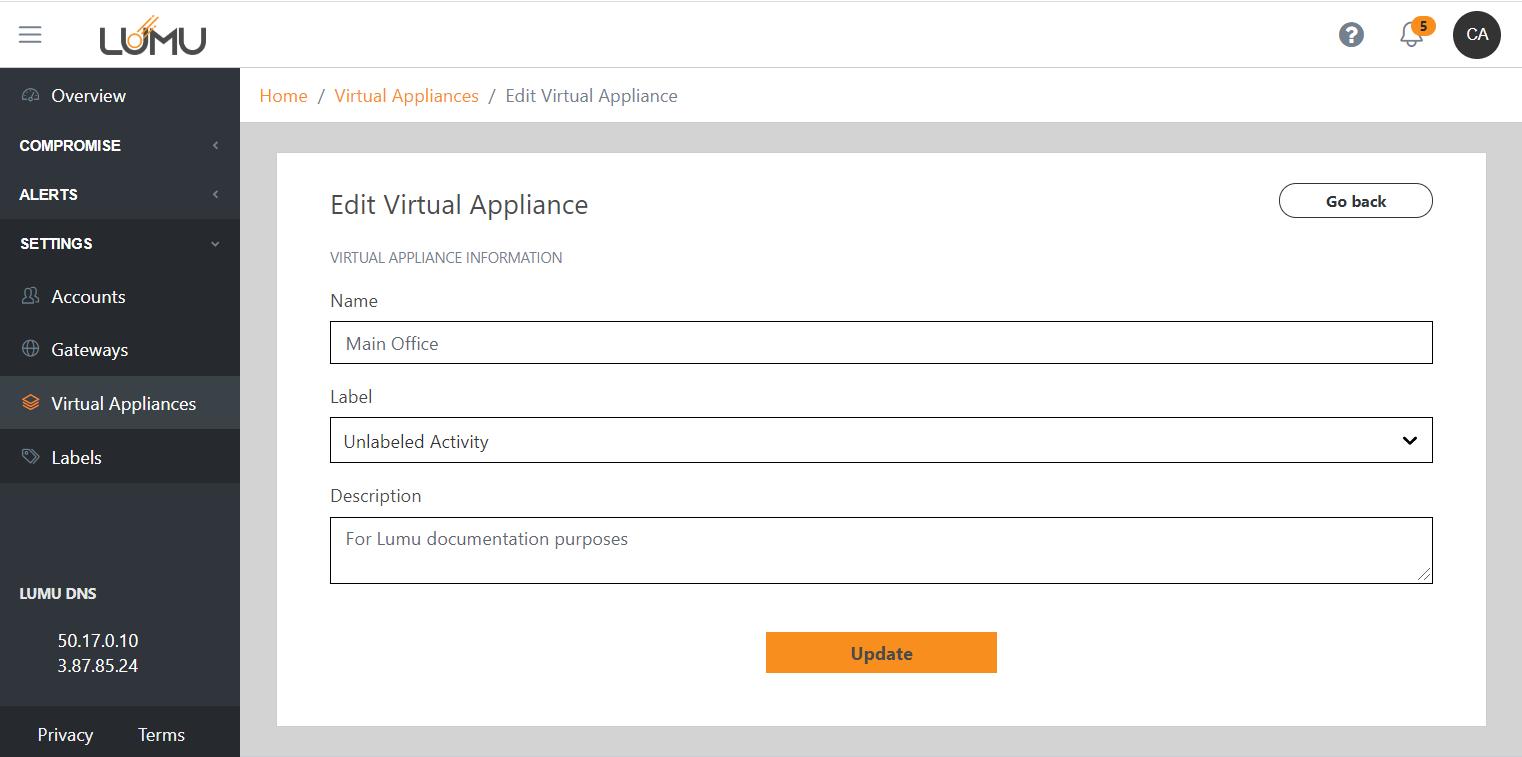 Editing a virtual appliance - Lumu Portal