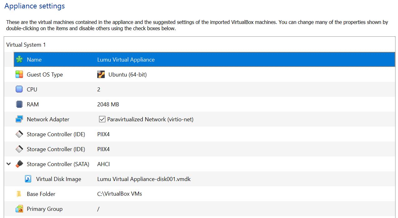 VirtualBox appliance settings
