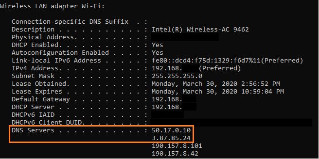 Workstation set to use Lumu DNS IP's
