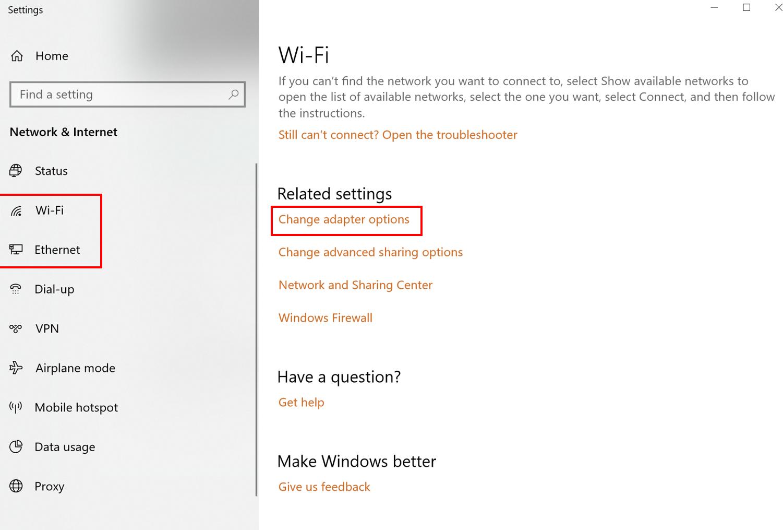 Adapter settings - Windows 10