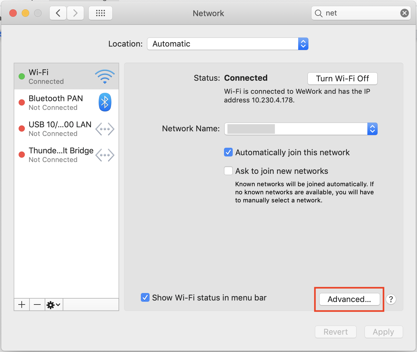macOS network preferences