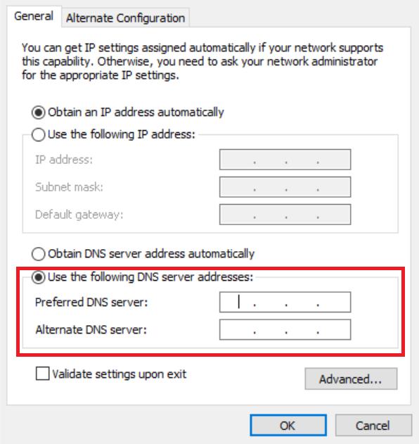 Setting DNS server addresses - Windows 10