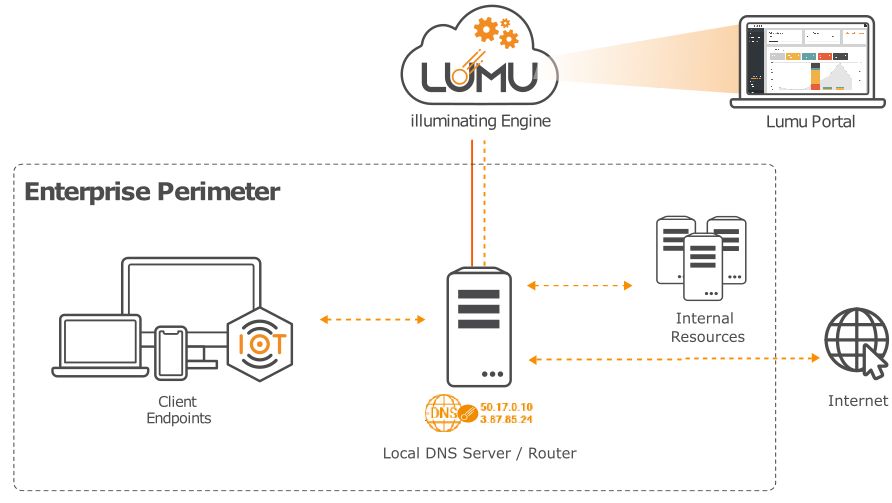 Enterprise perimeter pointing DNS to Lumu