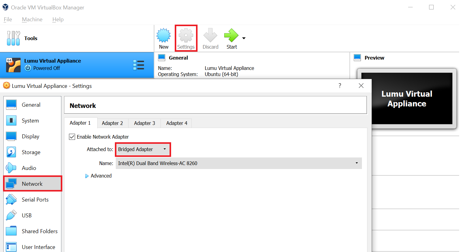 VirtualBox appliance network settings