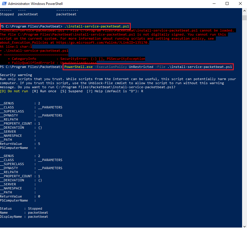 Packetbeat installation script