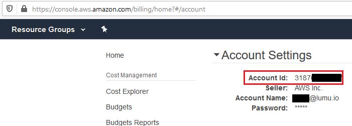 AWS Accounts settings area