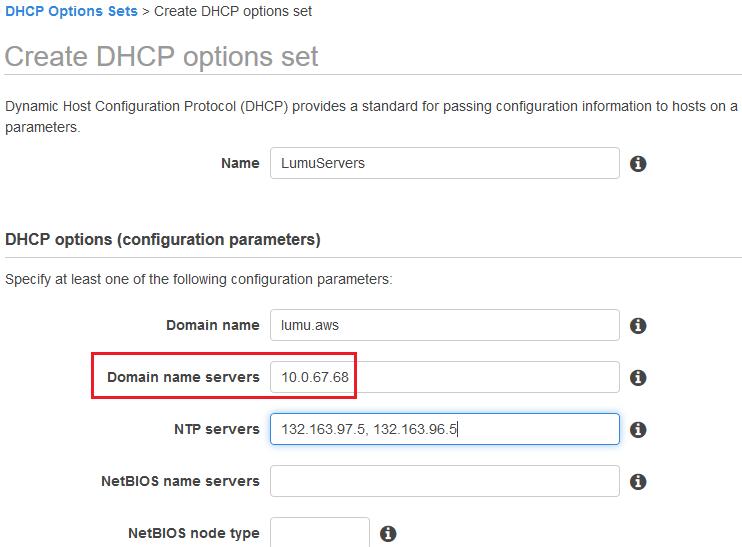 Creating DHCP options set for Lumu VA