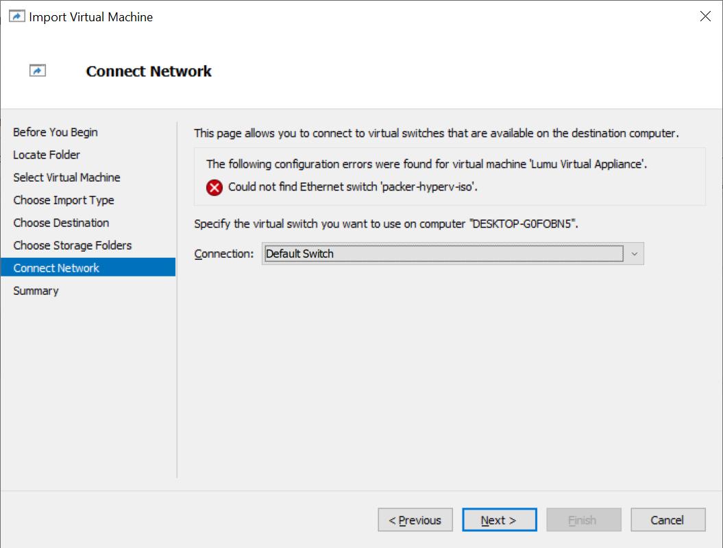 Network settings on Hyper-V