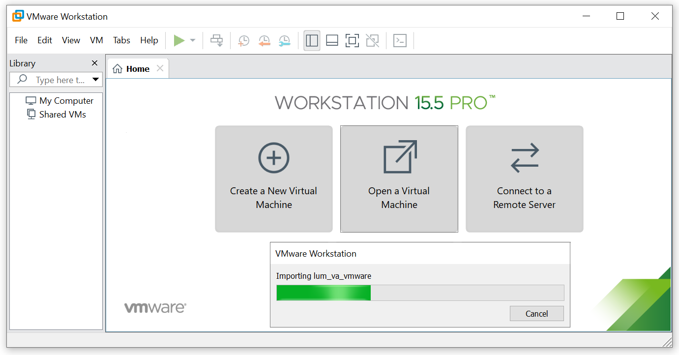 Importing the VA into the VMware Workstation