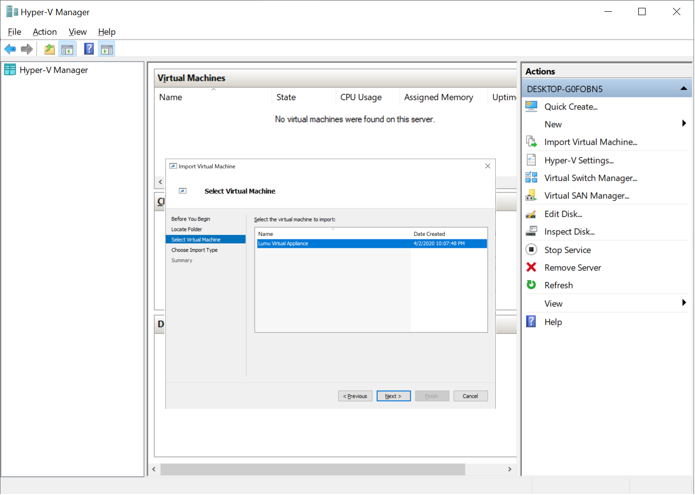 Importing the appliance into Hyper-V