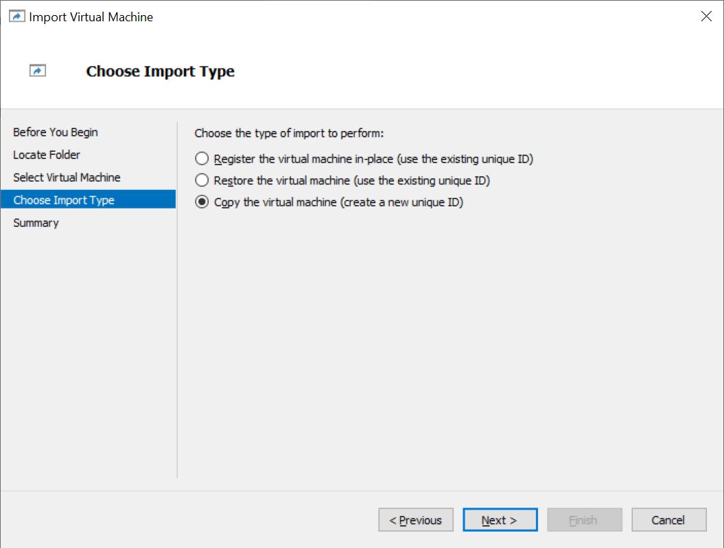 Choosing the import type