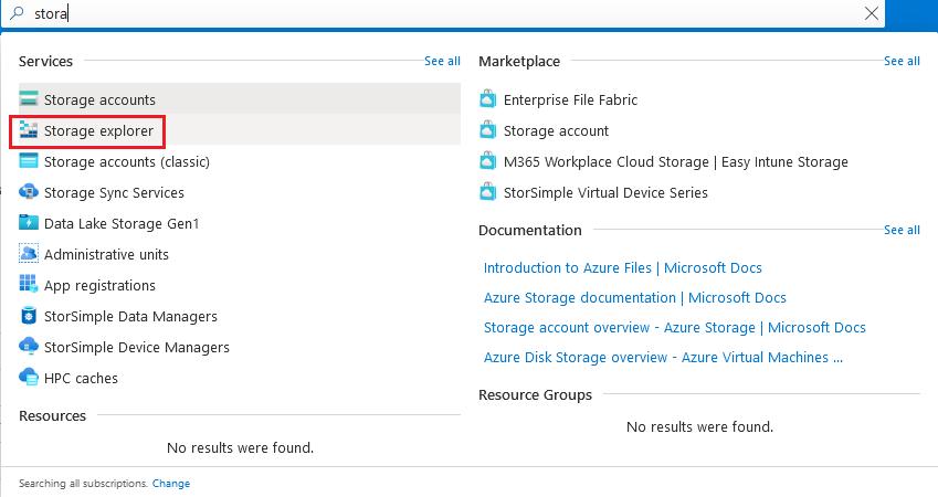 Open the Storage explorer on Azure