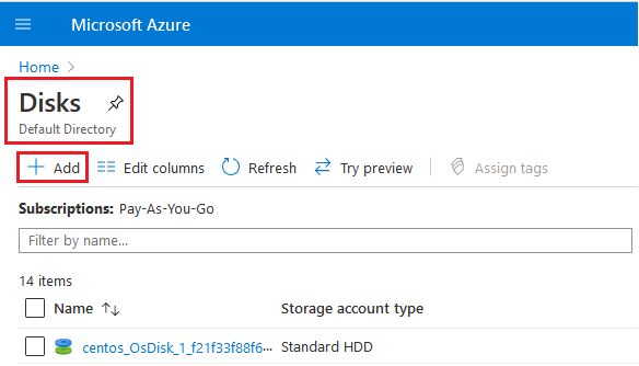 Add a managed disk on Azure