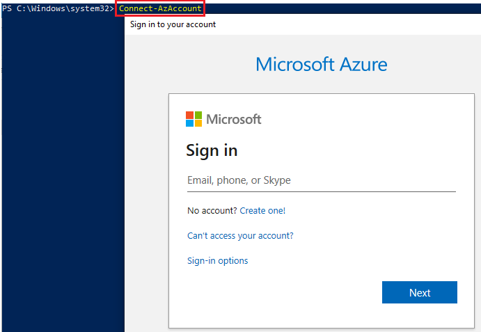 Sign in on your Azure account