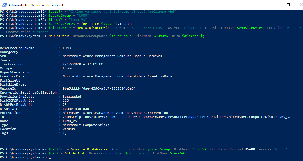 Command outputs for preparing Azure