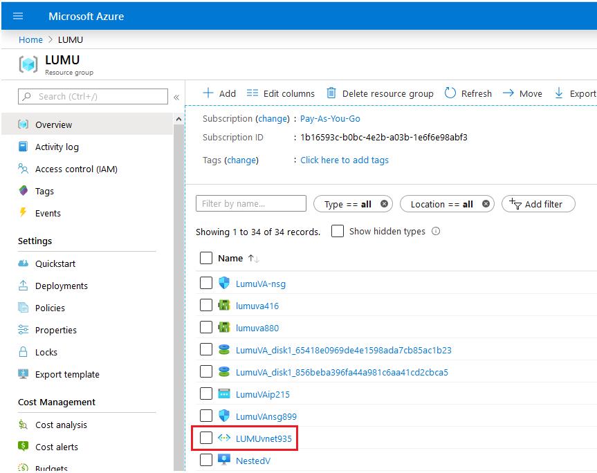Azure virtual network settings.