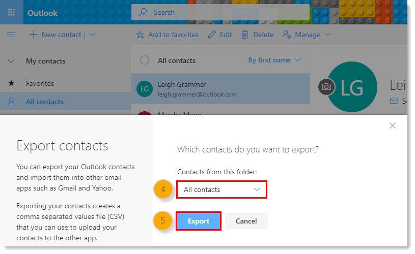Contacts from this folder Drop-down Menu and Export Button