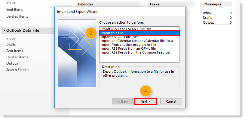 Export to a file Option and Next Button