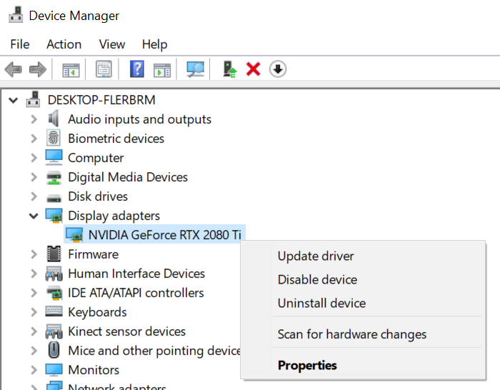 Device Manager - Display adaptors